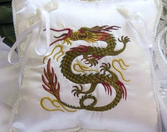 Green Chinese Dragon Embroidered Ring Bearer Pillow