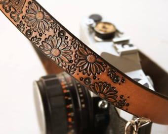 Custom Leather Camera Strap - Sunflowers- Personalized Unpainted Rustic Floral Leather - Handmade Camera Straps Made to Order by Mesa Dreams
