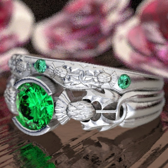Thistle Engagement Ring Set, Sterling Silver & Emerald, Scottish Solitare, Floral Wedding, Handcrafted Rings, Thistle Engagement Band 5062