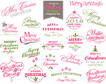 Instant Download Christmas Clipart, Merry Christmas Wording Clipart, Pink and Green Christmas Photo Overlay, Pink and Green Christmas 0422