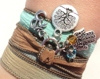 Tree of Life Hamsa Silk Wrap Bracelet Om Yoga Jewelry Blue Brown Namaste Mother Nature Anklet Necklace Earthy Unique Gift Under 50 Item S9