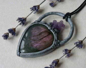 Purple Teardrop Labradorite and Grape Agate Silver Polymer Clay Pendant