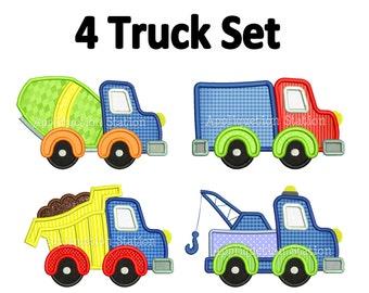 Truck Set Set Applique Machine Embroidery Design boy tow, dump, cement truck, construction INSTANT DOWNLOAD