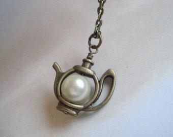 Pearl Teapot Necklace Brass Tea Pot Pendant Teapot Jewelry