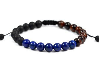 Surfer Beads Bracelet deep ocean pearl bracelet gemstone lapis lazuli Onyx Tiger eye spiritual men's bracelet - Valentine's day gift idea