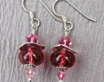 Lampwork Earrings, Lampwork Jewelry, Lampwork Bead Earrings, Pink Beads, Dangle Earrings, Sterling Silver