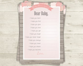 Dear Baby Shower Game Printable, Pink Shabby Girl Baby Shower Games, INSTANT DOWNLOAD