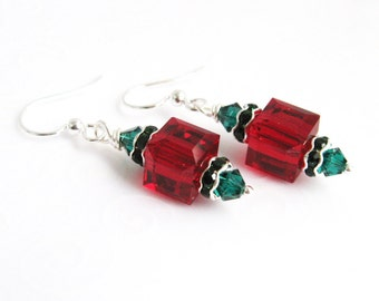 Swarovski Red Christmas Earrings, Crystal Cube Earrings, Dark Red and Emerald Green Crystal Earrings, Holiday Jewelry Fashion Accessories