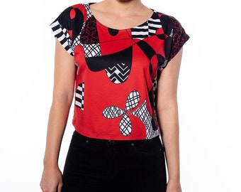 Red and Black Hand Drawn Graphic Print Cropped Tee
