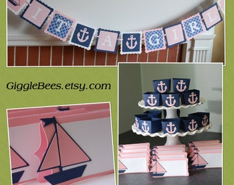 Nautical Baby Shower Package, It's A Girl Banner, Candy Cups, Food Labels, Sailboat, Anchors, Pink Navy