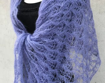Lavender silkmohair scarf lace mohair shawl  with leaves Evening accessory Handknitted Wedding wrap  lightweight kidsilk shawl mohair Stola