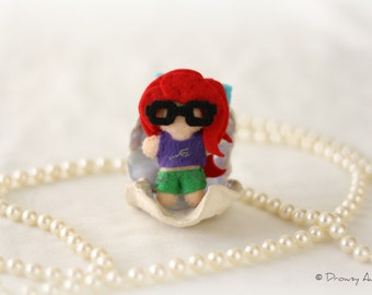 Hipster Mermaid plush felt doll -- Officially Unofficial Ariel art figurine