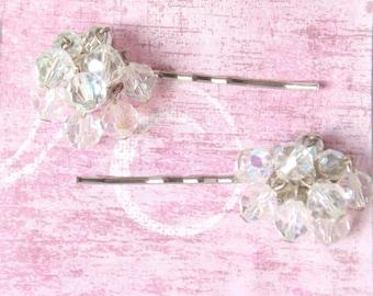 Wedding hair pins, crystal bead hair pins, vintage earring hair pins, vintage bobby pins, bridal hair pins, upcycled