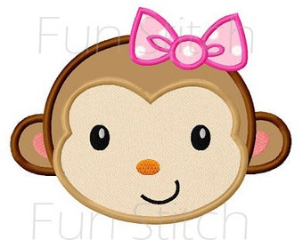 Monkey girl applique machine embroidery design