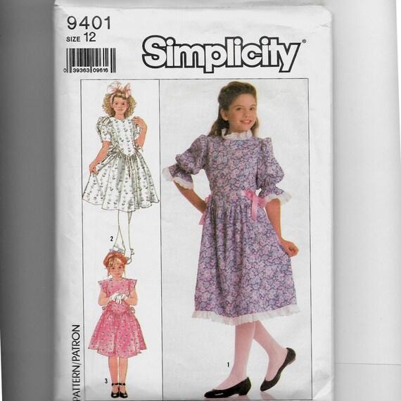 Patrón de vestido simplicidad infantil 9401
