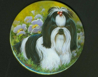 Cute Black White Shih Tzu Puppy Mirror available in 2 sizes