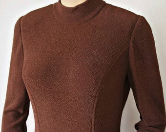 Vintage 1970's Dress Brown Knit Long Sleeve Fitted Mock Turtle Maxi Sleek Matronly Size 4