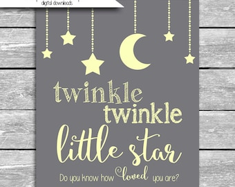 Twinkle Twinkle Little Star Do You Know How Loved You Are Gray And Yellow Nursery Art Printable  - 8x10 High Resolution Digital Download