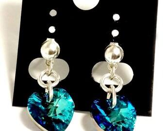 Blue Crystal Heart Earrings - Swarovski Crystal