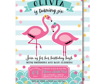 Flamingo Invitation, Pink Pool Party Birthday Invitations, Let's Flamingle (Featured on Hostess with the Mostess)