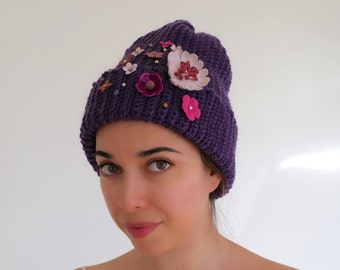 Purple beanie hat, Crochet beanie, Fisherman hat, Floral hat, Crochet hat, Beanie with leather flowers, Winter beanie, Casual hat