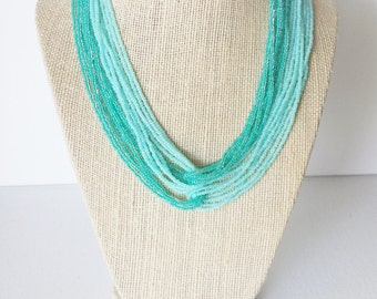 Statement necklace turquoise necklace, bridesmaid necklace seed bead necklace mint necklace, aqua necklace, ombre effect wedding jewelry