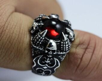 Skull ring,skull men ring,men ring,925 Sterling Silver,Black