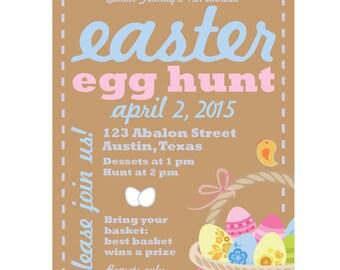 Personalized Printed Vintage Easter Invitations. Easter Egg Hunt. Easter Brunch. Tan. Light Blue. Light Pink. Yellow