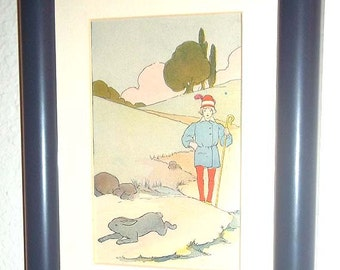 Vintage Framed 1919 Blanche Fisher Wright Print From the Book The Real Mother Goose - Boy and Hare