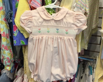 Pink smocked bubble romper , 3/6 mos