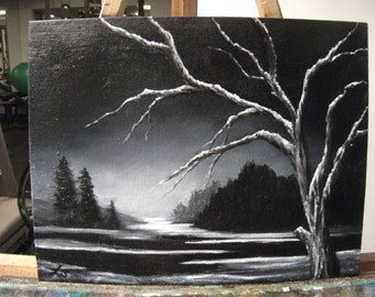 Black and White Winter, Snow, Tree, Lake, At Night Original Landscape Oil Painting