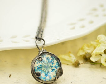 Tiny BLUE FLOWER pendant, plant necklace, dried flower, pressed plant, boho necklace, tin soldered jewelry, bridesmade gift, spring wedding