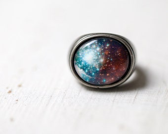 Blue galaxy ring, Celestial ring, Space ring, Universe ring, Gunmetal ring, Space jewelry, Nebula ring, Neon ring, Neon galaxy ring