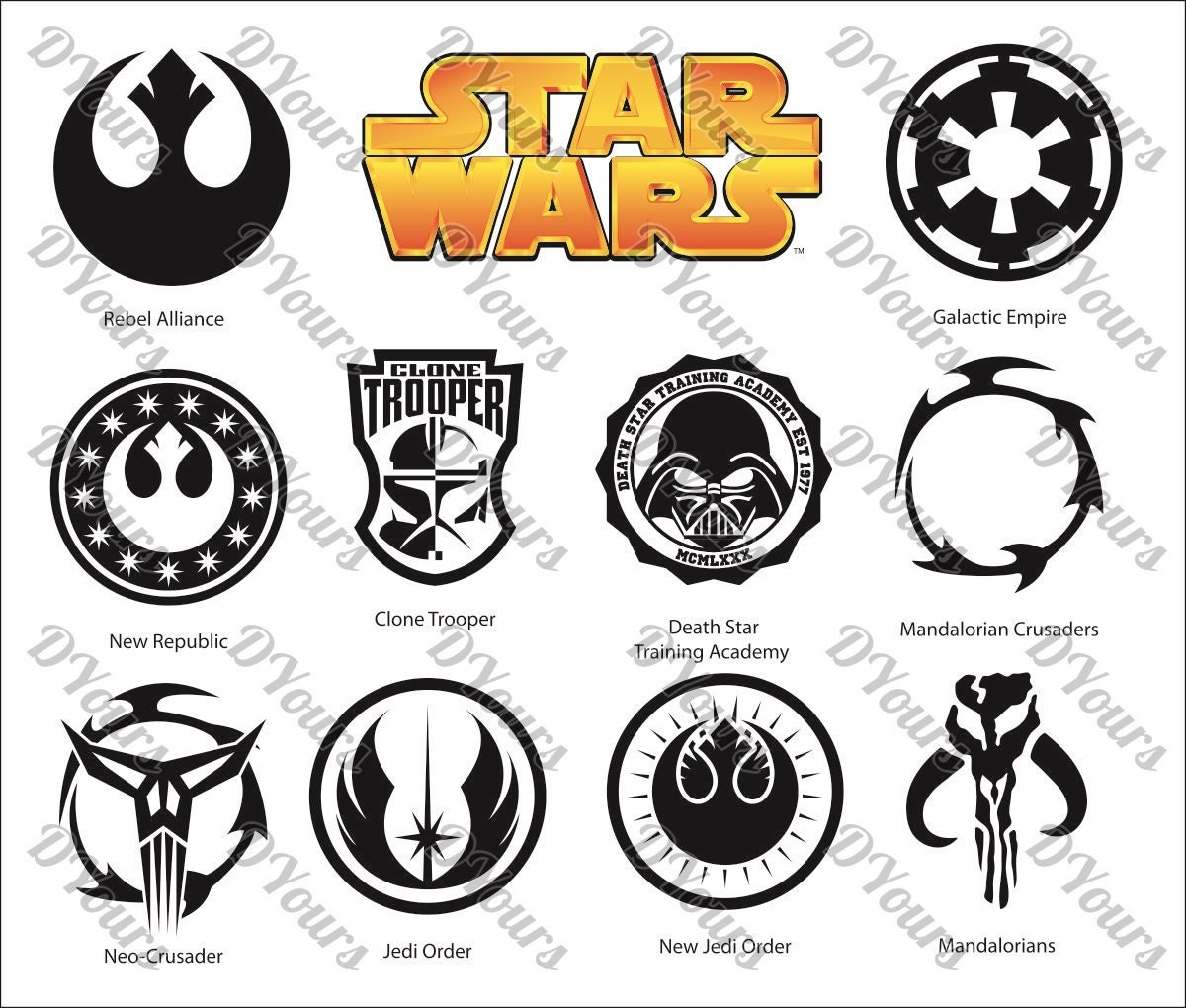 Star wars symbols clipart 11 vector models vector collection this is a digital file biocorpaavc Images