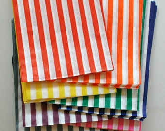 Free U.S. Shipping - Set of 500 - Traditional Sweet Shop Candy Stripe Paper Bags - Your Color Choice - 7 x 9 - New Style