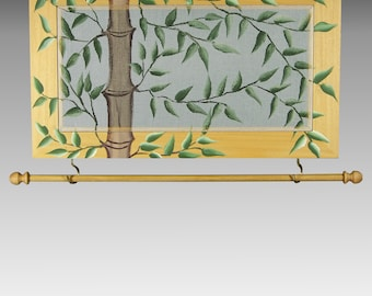 Wall Hanging Earring Holder & Jewelry Organizer includes Necklace Holder. Wood Frame Jewelry Display. Bamboo Design on Hand Painted Screen.