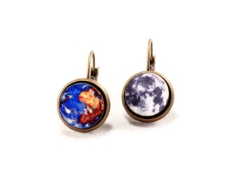 Outer Space Planet Earrings - Science Women Custom Solar System, Gift Idea