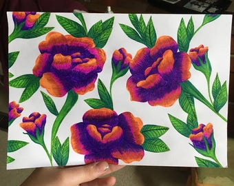 Roses in pen 7x10 inches