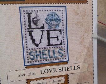 """Hinzeit Cross Stitch Kit - """"Love Shells"""" - includes a shell charm and pattern"""