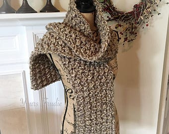 Chunky Crochet Scarf, Autumn Fall Colors Scarf, SOFT Hand Knitted Scarf, Textured Grey Beige Scarf, Gift for Him, Gift for Her