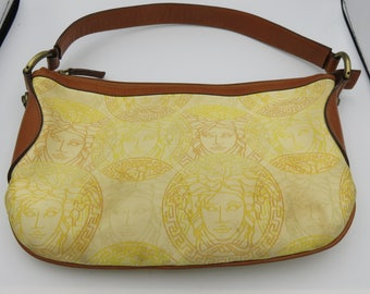 Vintage Versace Tan Leather and Golden Yellow Medusa Monogrammed Fabric Shoulder Tote Bag