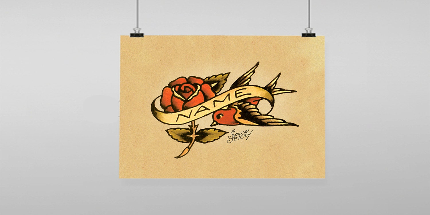 Personalized swallow rose Tattoo Sailor Jerry Vintage