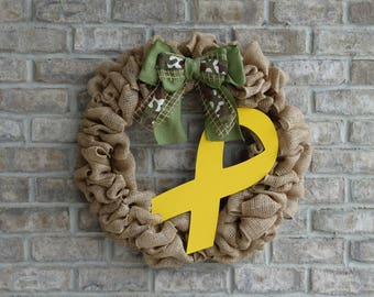 Support Our Troops Wreath, Yellow Ribbon Wreath, Military Wreath, Large Burlap Wreath, Front Door Wreath, Rustic, Everyday Wreath