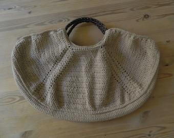 Crocheted beige bag style tote bag
