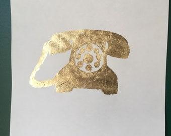 Gold leaf rotary phone