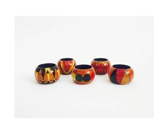 Vintage Colorful Wood Napkin Rings / Set of 5