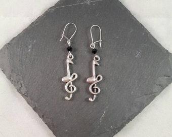 Music Earrings - gift for a musician - music gift - music jewellery - Treble Clef earrings - musical gift -  music teacher gift
