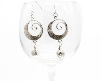 Spiral Large Earrings with Filigree Drops - Silver