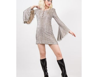 Vintage Young Edwardian by Arpeja / 1960s 1970s silver lurex micro mini dress with trumpet sleeves / Betsey Johnson Paraphernalia XS