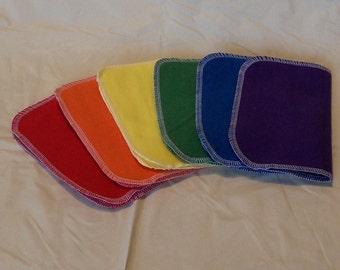Set of 12 Solid colors, bright and/or pastel, reusable cloth napkins, baby wipes, lunch napkins